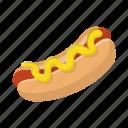 bun, cartoon, grilled, hotdog, meat, mustard, sausage