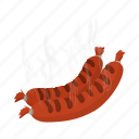 cartoon, food, fork, fresh, grilled, meat, sausage icon