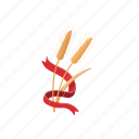 agriculture, barley, beer, cartoon, food, plant, ribbon icon
