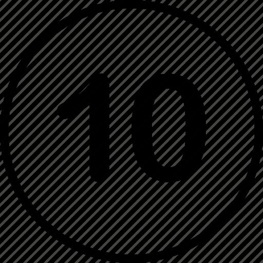 menu, nav, navigation, number, ten icon