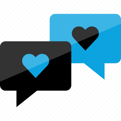 bubbles, conversation, heart, message, sms, text icon
