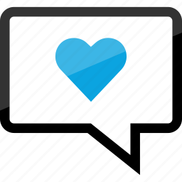 chat, conversation, heart, love, message, sms, text icon