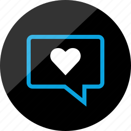 bubble, chat, conversation, heart, sms, talk, talking icon