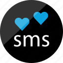 chat, conversation, heart, love, messege, sms, talking icon