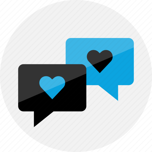 chat, conversation, heart, love, sms, talk, talking icon