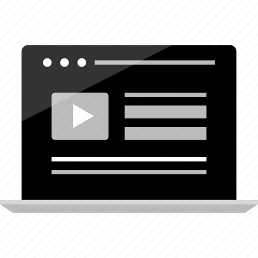 computer, laptop, mockup, play, video, wireframe, youtube icon