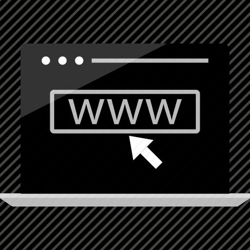 arrow, click, computer, laptop, mockup, wireframe, www icon