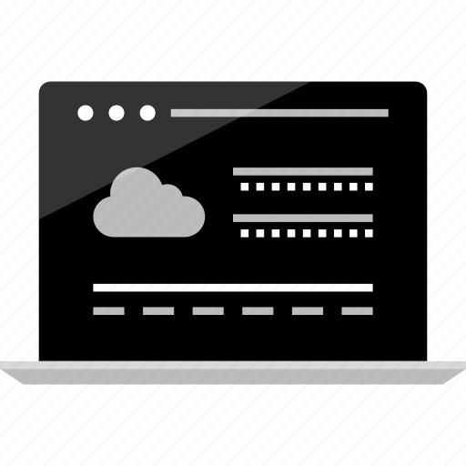 cloud, computer, mockup, online, save, server, wireframe icon