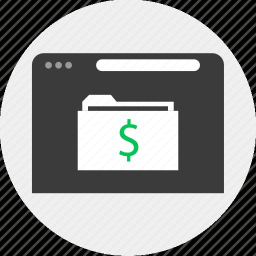 business, dollar, folder, online icon