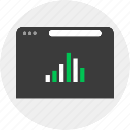 browser, business, chart, online, results icon