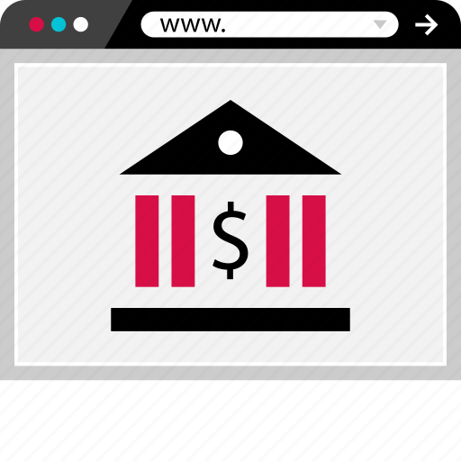 banking, browser, dollar, internet, sign, web icon