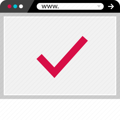 browser, check, internet, mark, ok, web icon