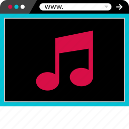 browser, internet, music, note, sound, web icon