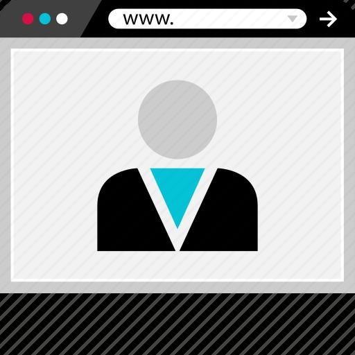 browser, internet, profile, staff, user, web icon