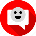 bubble, chat, conversation, happy, talk icon