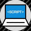 echnology, laptop, script icon