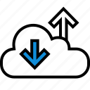 cloud, down, internet, up icon