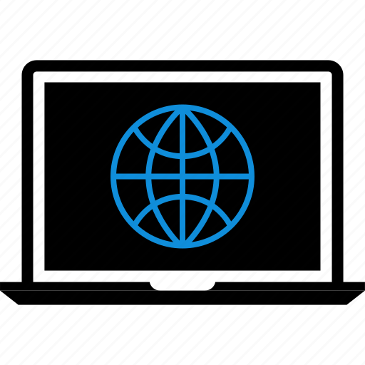 globe, laptop, seo, web icon