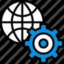 earth, globe, seo, settings icon