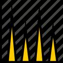 analytics, bars, info icon