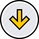 arrow, down, info icon