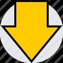 arrow, down, info icon