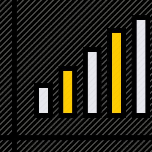 bars, data, up icon
