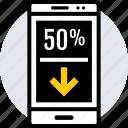 arrow, cell, data, phone icon