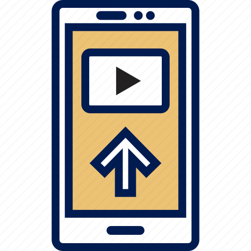 arrow, cell, phone, upload icon