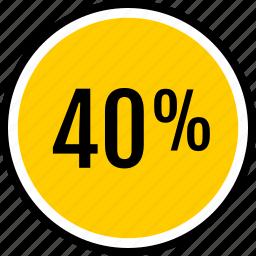 data, fourty, percent icon