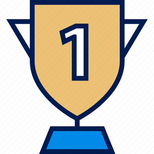 number, one, trophy icon