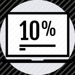data, graphics, laptop, ten icon