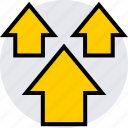 arrows, three, up icon