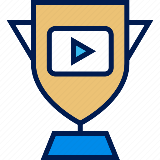 play, trophy, youtube icon