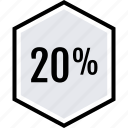 info, percent, twenty icon