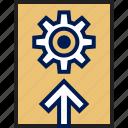 arrow, setting, settings, upload icon