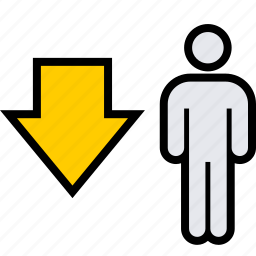 arrow, data, down, user icon