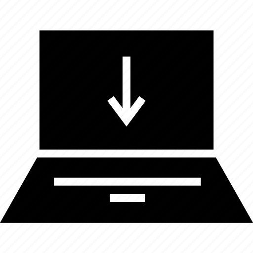 arrow, down, laptop, web icon