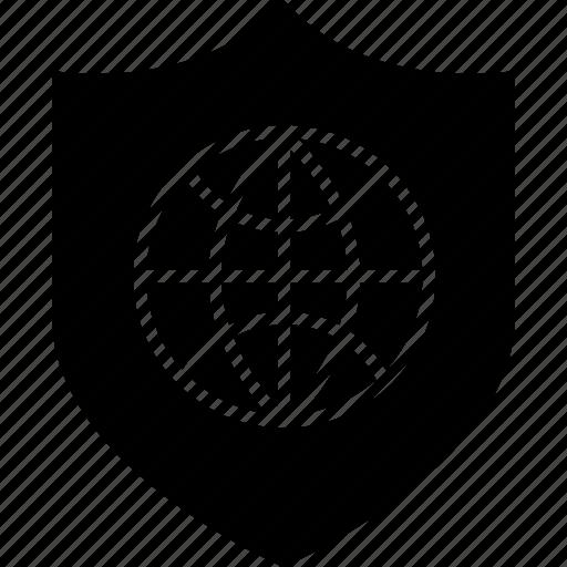 network, shield, wide, world icon