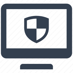 banking, computer, finance, monitor, online, safe, secure, security, shield icon