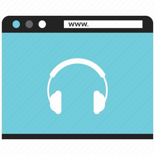 blog, browser, device, headphone, internet, online, website icon