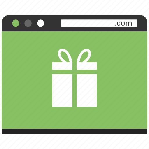 browser, gift, online gift send, page, shopping, web, website icon