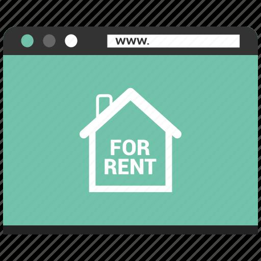 browser, for rent, online rent send, web, webpage, website icon