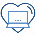 business, favorite, heart, laptop, like, online business icon