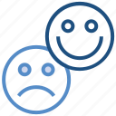 business, customer, emoji, happy, sad, satisfaction icon