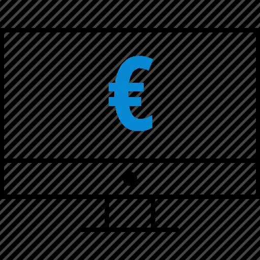 euro, money, monitor, sign, wealth icon