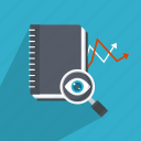 analytics, glass, magnifying, marketing, notebook, search, success icon