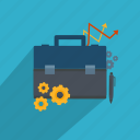 analytics, briefcase, business, documents, pencil, settings, success icon