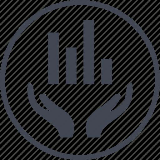 bars, data, graph, hand, hands, report icon