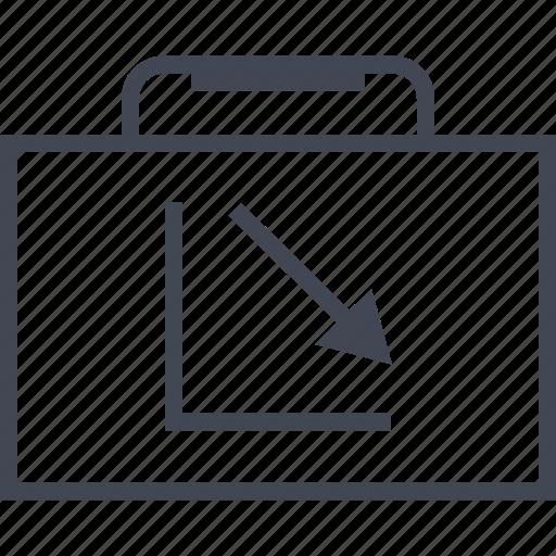 arrow, briefcase, case, down, graph, pro, report icon
